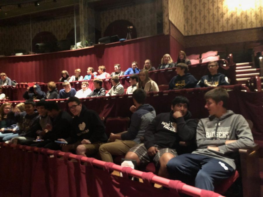 Sophomores in Ms. Tara Porters English 10 classes wait for a performance of Antigone to begin at The Grand in Oshkosh on Oct. 11.