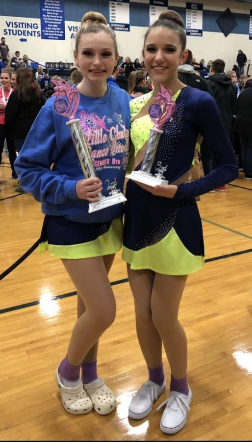 Sophomore+Allyson+Mueller+%28left%29+and+freshman+Cambria+Deehr+proudly+show+off+their+trophies+at+the+Little+Chute+Invite+Dance+Competition+on+Dec.+8.