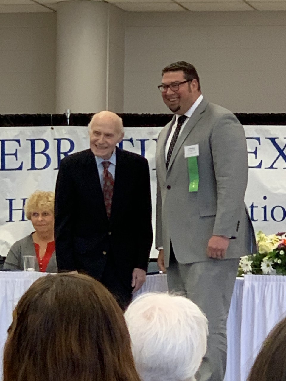 CHS Principal Mr. Ty Breitlow is presented one of twelve 2019 Herb Kohl Educational Foundation Principal Leadership Awards by former United States Senator Herb Kohl at the Herb Kohl Educational Foundation 2019 Student, Teacher and Principal Recognition Luncheon held at Appleton North High School on March 30