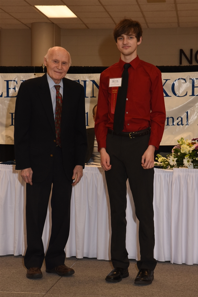 Former United States Senator Herb Kohl presents CHS senior Max Rudig a Student Excellence Award at the Herb Kohl Educational Foundation 2019 Student, Teacher and Principal Recognition Luncheon held at Appleton North High School on March 30