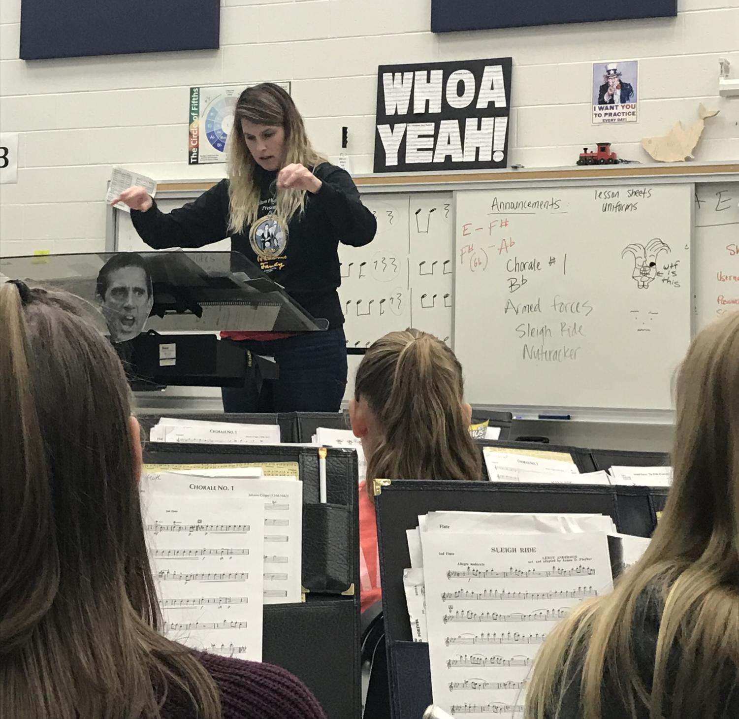 Ms. Michelle Kochan directs the CHS Symphonic Band during class.
