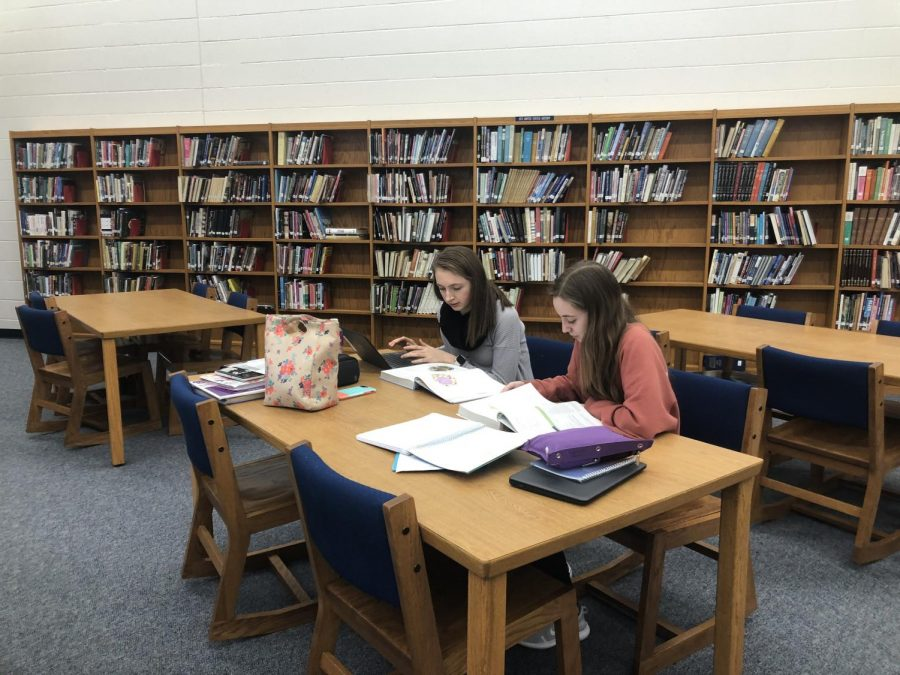 Two seniors study in the CHS library during the first week of the second semester.