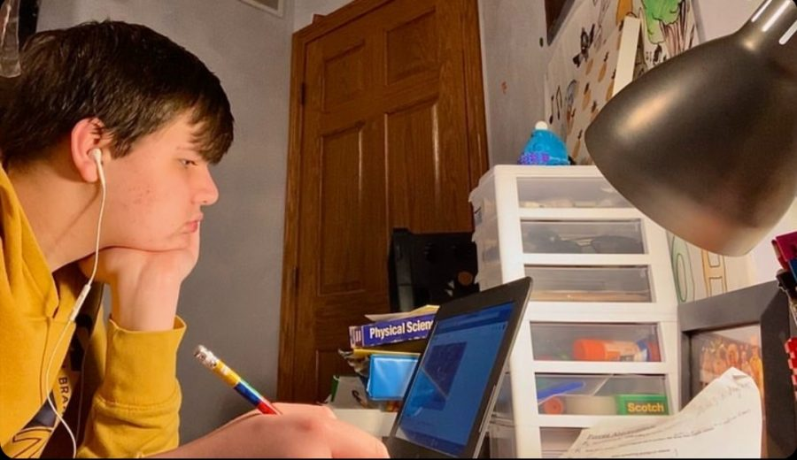 As is the case with many students, freshman Alex Bowes bedroom has become his classroom.