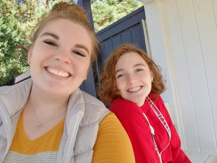 Isabell Kopf (left) and Emilee-Elizabeth Maney, who both graduated from CHS last year and now room together at UW-Madison, explore Allen Centennial Garden on the Madison campus.
