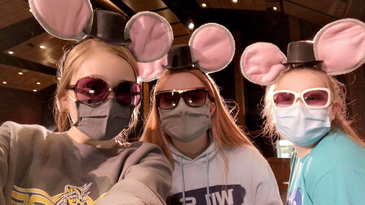Photo submitted by Ellie Fuerbringer, Seniors Cortney Piepenburg, Ellie Fuerbringer, and Sara Ray are dressed in Mice costumes for one of the comedy skits in CHS's virtual talent show 'Chilton's got talent 2020- A Virtual Variety Show for All!'