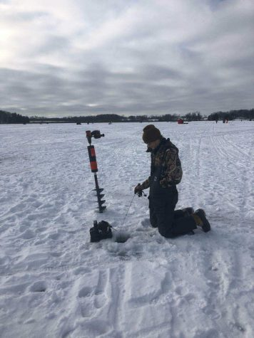 Photo submitted by Ms.Tara Porter  Junior Patrick Marx participates in the Tip Up Extravaganza on Kettle Moraine Lake as a member of the CHS ice fishing team.
