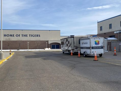 A drive-thru COVID-19 testing site being operated outside CHS on Jan.6 and 13, both non-student contact days.