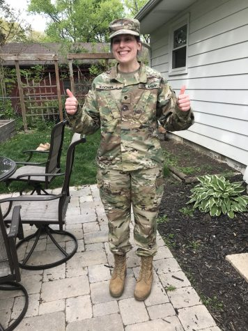 Photo submitted by Ms. Michelle Kochan  On Oct. 4, Ms. Michelle Kochan, the seventh- to twelfth-grade band teacher, left for basic training for the Wisconsin Army National Guard Band.